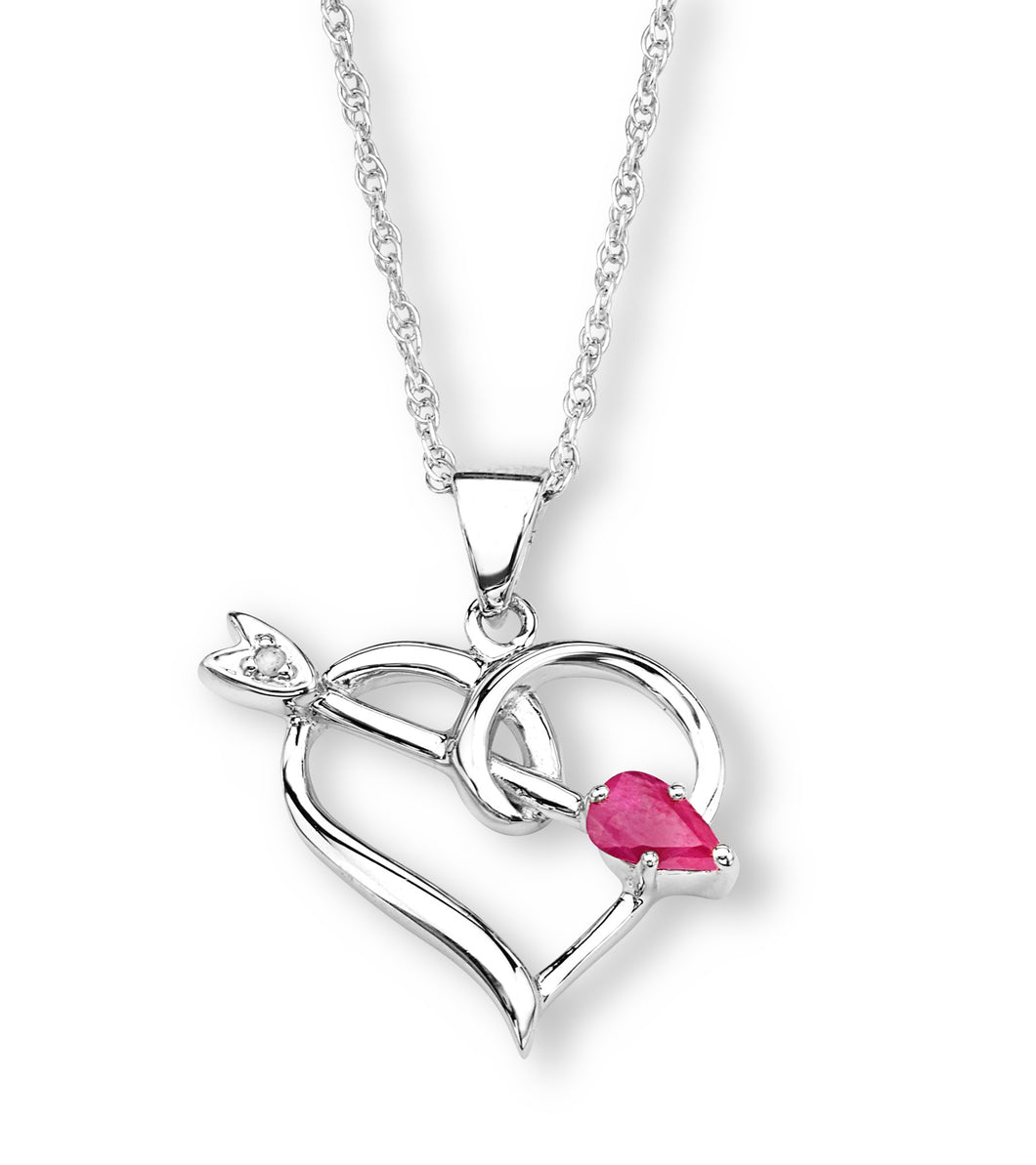 Sterling Silver Heart Necklace with Arrow and Created Pink Stone and CZ