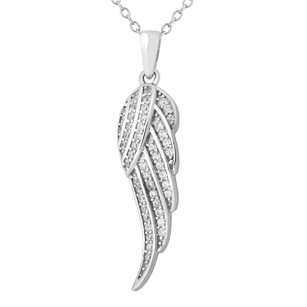 CZ Sterling Angel Wing Necklace