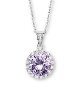Purple CZ Silver Necklace
