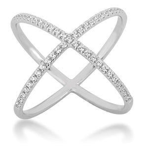 CZ Sterling Silver X Pattern Ring