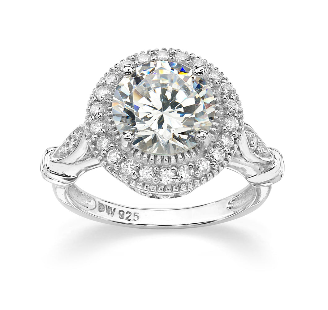 CZ Sterling Silver Halo Ring