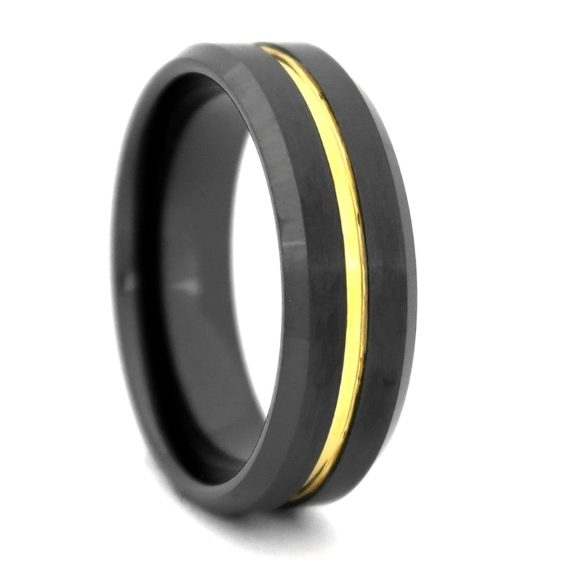 Comfort Fit 8mm Black High-Tech Ceramic Wedding Band with a Gold Color PVD Plated Groove