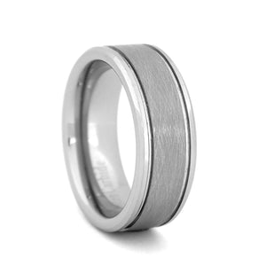 Comfort Fit 8mm Tungsten Carbide Wedding Ring with High Polish Beveled Edges and Meteorite-Look Center