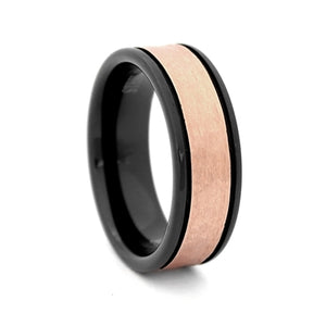 Comfort Fit 8mm Black Tungsten Carbide Wedding Band with Two Grooves and Rose Gold Color PVD Plated Hammered Look Center