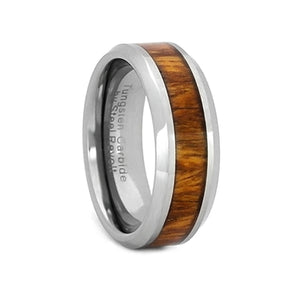 Comfort Fit 8mm Tungsten Carbide Wedding Ring With Exotic Koa Wood Inlay