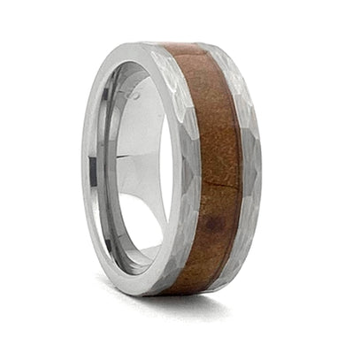 Comfort Fit 8mm Hammered Look Tungsten Carbide Wedding Ring With Genuine Wood from Jack Daniels Whiskey Barrel Inlay