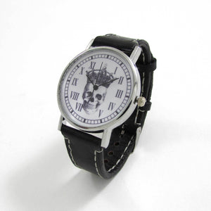 Skull King Black Leather Wrist Watch - TheExCB