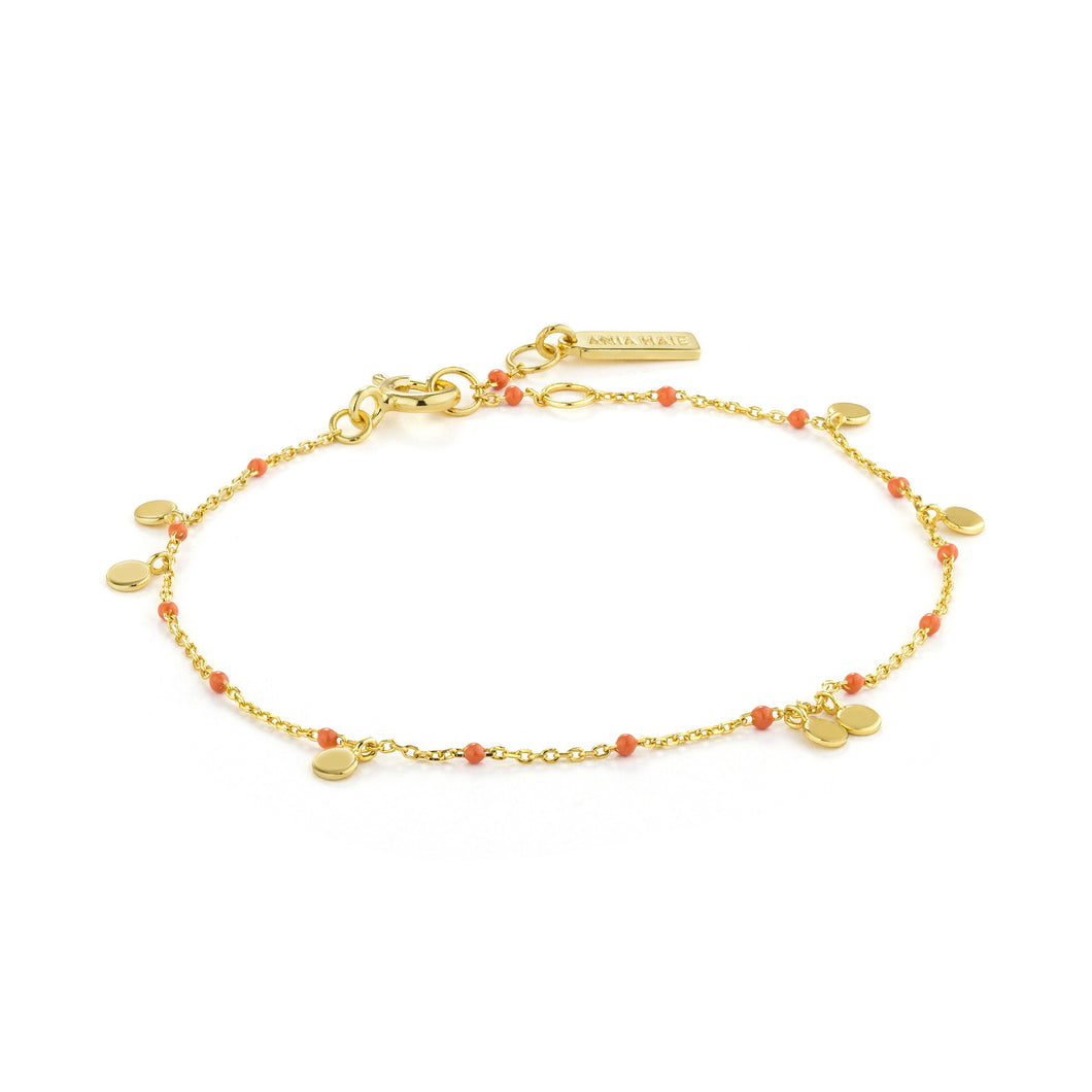 Gold Dotted Drop Discs Bracelet
