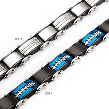 Load image into Gallery viewer, Double Sided Stainless Steel Black Plated and Blue Plated Reversible Bracelet