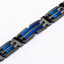 Load image into Gallery viewer, Matte Black & Blue Plated Link Bracelet