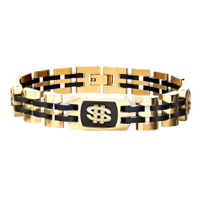 Stainless Steel Gold and Black Plated with 24pcs White Cubic Zirconia Dollar Sign Bracelet