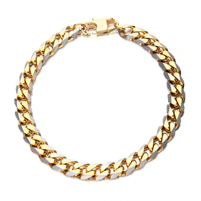Stainless Steel Gold Plated 8mm Curb Chain with Lobster Clasp