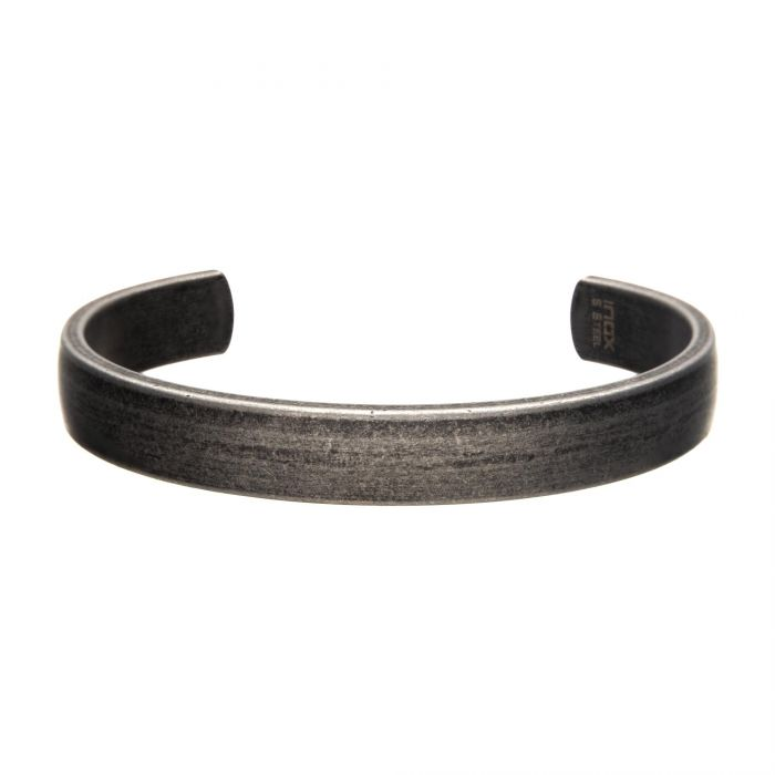 Stainless Steel with Antiqued Finish Plain Cuff Bangle Bracelet