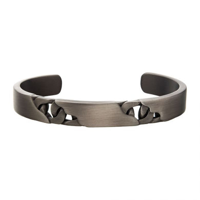 Stainless Steel & Gun Metal IP Curb Bangle