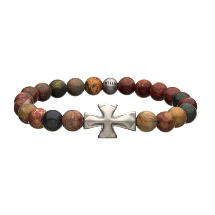 8mm Picasso Jasper Stone with Cross Silicone Bracelet