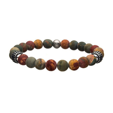 8mm Piccaso Jasper Stone with Steel Beads Silicone Bracelet