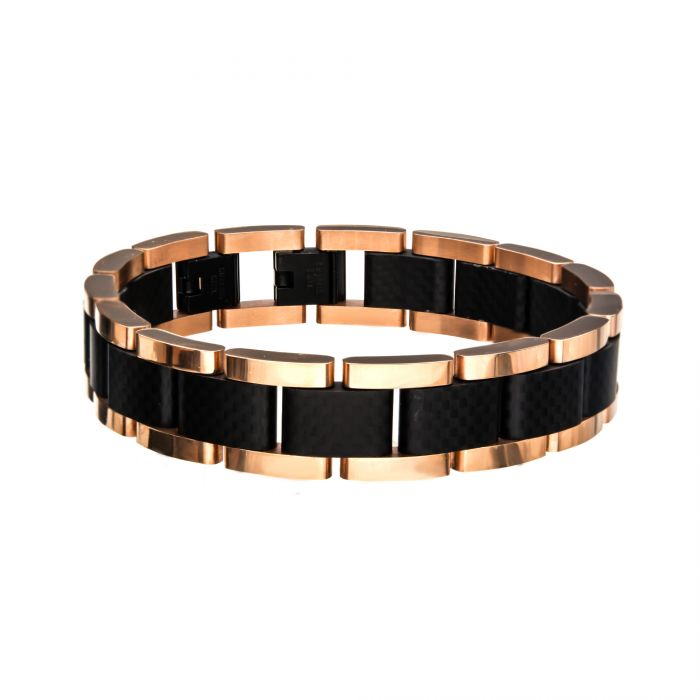 Black and Rose Gold Plated with Carbon Fiber Link Bracelet