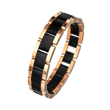 Load image into Gallery viewer, Black and Rose Gold Plated with Carbon Fiber Link Bracelet