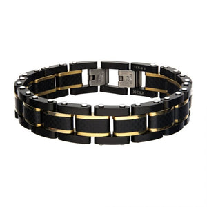 Black Carbon Fiber with Gold Plated Link Bracelet