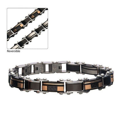 Stainless Steel, Black IP & Rose Gold IP Reversible Bracelet