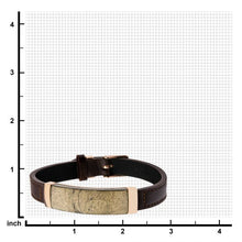 Load image into Gallery viewer, Chalcopyrite Brown Leather and Rose Gold Plated Bracelet with Belt Buckle Clasp