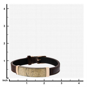Chalcopyrite Brown Leather and Rose Gold Plated Bracelet with Belt Buckle Clasp