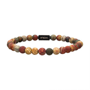 Matte Picaso Gemstone Stretch Bead Bracelet with Steel Clasp
