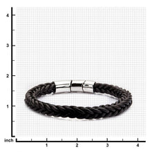 Load image into Gallery viewer, Brown Leather and Stainless Steel Magnetic Clasp Bracelet