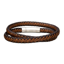 Load image into Gallery viewer, Dark & Light Brown Double Round Leather Bracelet