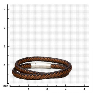 Dark & Light Brown Double Round Leather Bracelet