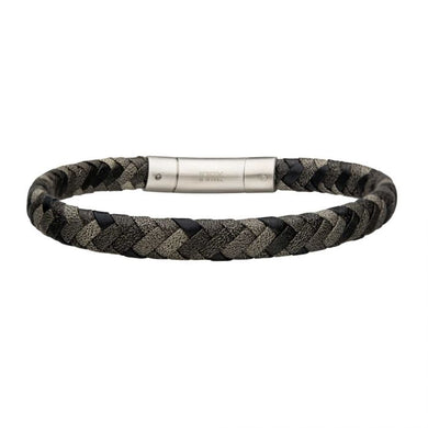 Grey Leather Bracelet with Steel Clasp