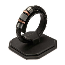 Load image into Gallery viewer, Black Braided Leather with Rose Gold Plated & Steel Beads Bracelet