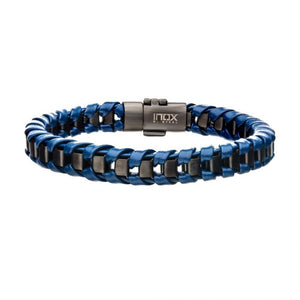 Navy Leather with Gun Metal Plated Bracelet