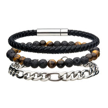 Load image into Gallery viewer, Stainless Steel Black Leather and Chain Bead Multi Set Bracelet