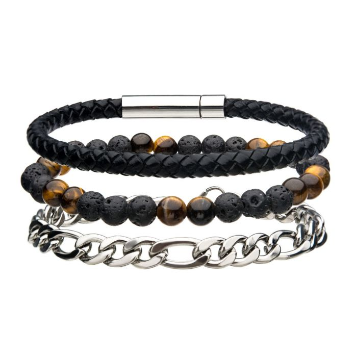 Stainless Steel Black Leather and Chain Bead Multi Set Bracelet