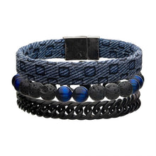 Load image into Gallery viewer, Blue Fabric, Stone Beads and Curb Chain Stackable Bracelet