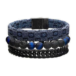 Blue Fabric, Stone Beads and Curb Chain Stackable Bracelet