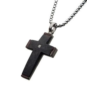 Solid Carbon Cross Pendant with 1.5mm Genuine Clear Diamond