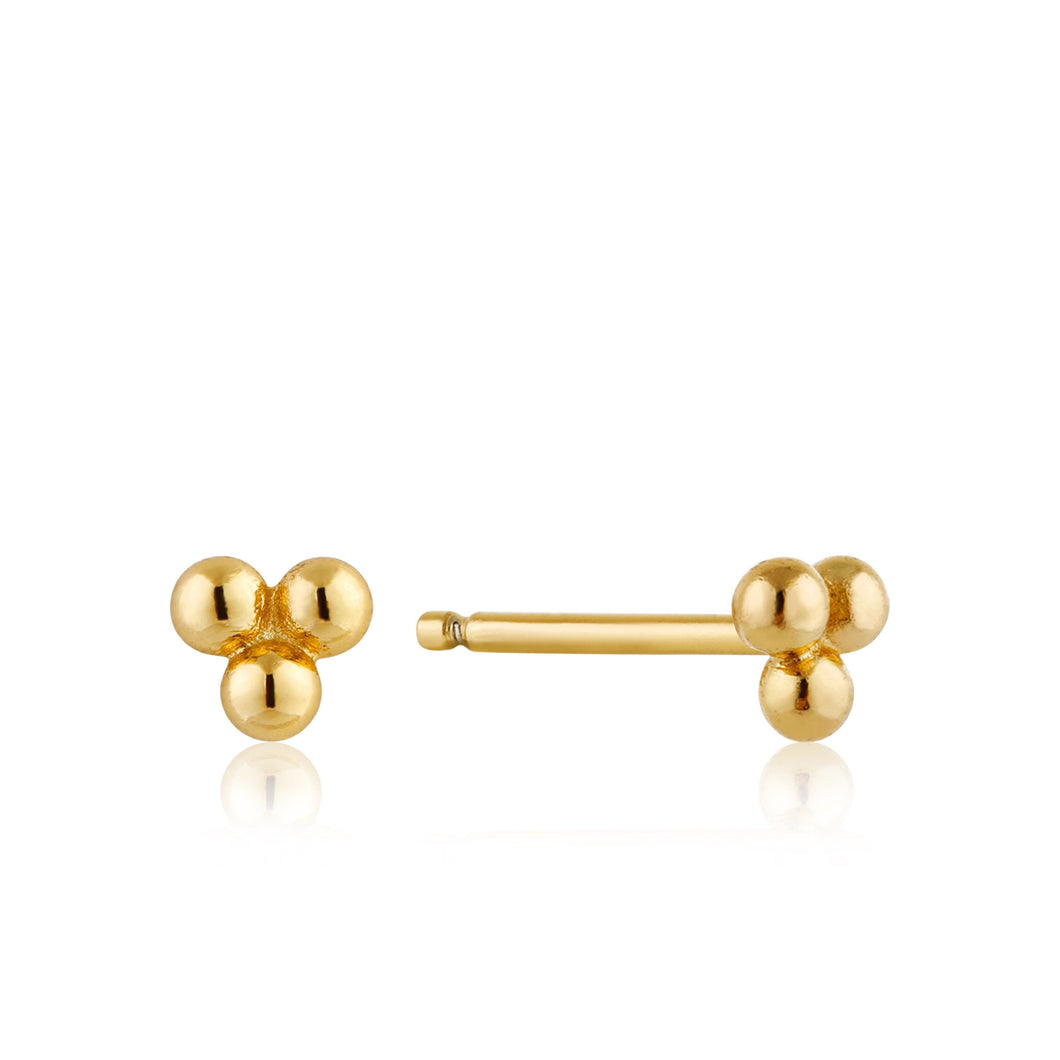 Gold Modern Triple Ball Stud Earrings