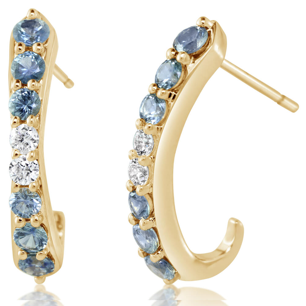 14K YELLOW GOLD MONTANA SAPPHIRE/DIAMOND EARRINGS