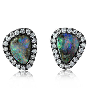 STERLING SILVER BLACKENED AUSTRALIAN BOULDER OPAL/DIAMOND EARRINGS