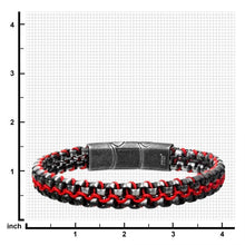 Load image into Gallery viewer, Allegiance Stainless Steel Bracelets with Red Wax Cord binding 2 Antique Brushed Bold Box Links