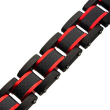 Load image into Gallery viewer, Dante - Black and Red Steel Matte Carbon Fiber and Link Sizeable Bracelet
