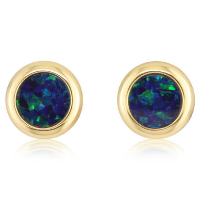 14K YELLOW GOLD 5MM ROUND AUSTRALIAN OPAL DOUBLET EARRINGS