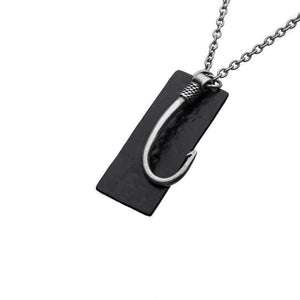 Stainless Steel Antiqued Finish Fish Hook and Black Plated Tag Pendant with chain