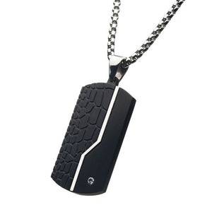Stainless Steel Thin Line Crocodile Dog Tag Pendant with 2mm Clear CZ & Steel Chain