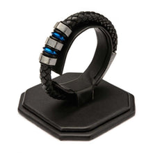 Load image into Gallery viewer, Black Braided Leather with Steel Blue Plated & Gray Beads Bracelet
