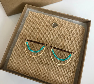 Gold filled and Turquoise Half Moon Earrings