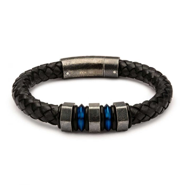 Black Braided Leather with Steel Blue Plated & Gray Beads Bracelet