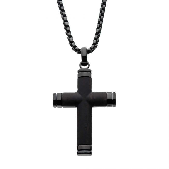 Black Plated Genuine Ebony Wood Inlayed Cross Pendant with Black Bold Box Chain